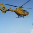 防災訓練:EC135病院に向け離陸