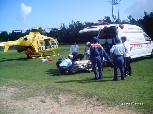 恩納村防災訓練 救急車との連携